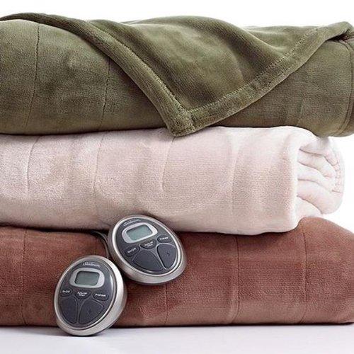 Sunbeam Channeled Velvet Plush Electric Heated Blanket Twin Cocoa