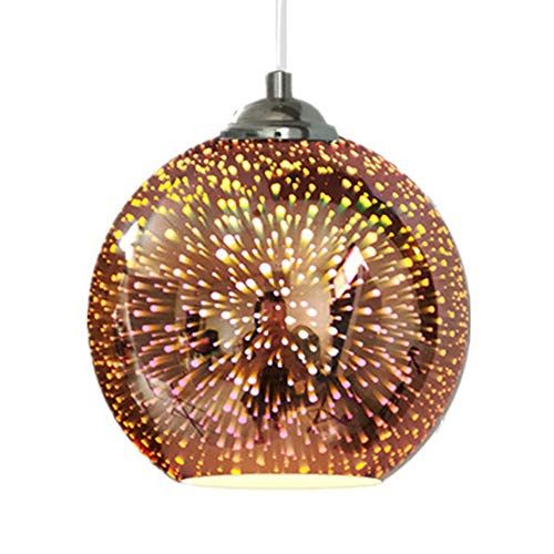 JW Glass Pendant Light 3D Colourful Fireworks Light Fitting Modern Multicolor Ceiling Lights Height Adjustable Round Lampshade Hanging Lamps Multiple Choices,Copper,9.8in