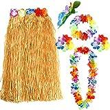 FEPITO 1 Conjunto Hawaiian Grass Hula Falda con Flor Leis Collar Diadema Pulseras Vestido Conjunto de Disfraces para Niñas Mujer Luau Hawai Dance Falda Favores de Fiesta