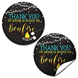 Backyard Bonfire Camping Under The Stars Birthday Thank You Sticker Labels for Boys, 40 2' Party Circle Stickers by AmandaCreation, Great for Party Favors, Envelope Seals & Goodie Bags