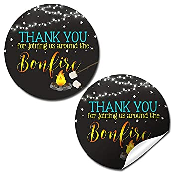 Backyard Bonfire Camping Under The Stars Birthday Thank You Sticker Labels for Boys 40 2  Party Circle Stickers by AmandaCreation Great for Party Favors Envelope Seals & Goodie Bags