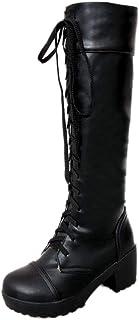 [Cozy Maker] C&M ブーツ レディース ロング 黒 白 秋冬 シンプル 美脚 レースアップブーツ 編み上げシューズ 長靴 厚底 カジュアル 履きやすい COSPLAY