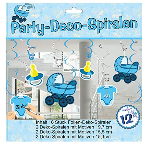 6 stuks UDO Schmidt Party spiraal voor de geboorte blauw Jongen slinger feest baby