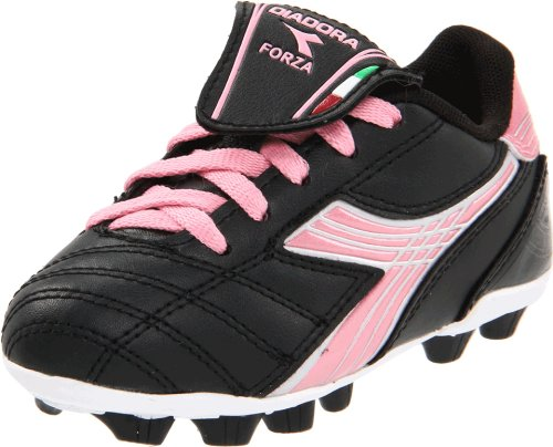 Diadora Forza MD Soccer Cleat (Toddler/Little Kid/Big Kid),Black/Pink,6 M US Big Kid