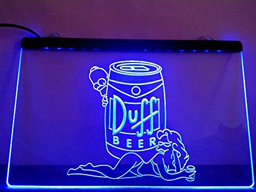 Duff Simpsons Bier LED Zeichen Werbung Neonschild Blau
