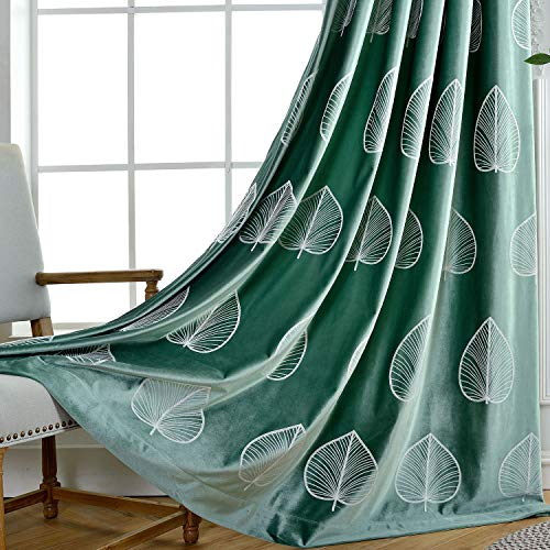 VOGOL White Leaves Embroidered Curtains, Green Elegant Velvet Curtains for Living Room, Thermal Blackout Grommet Window Panels, W52 x L63, 2 Pieces