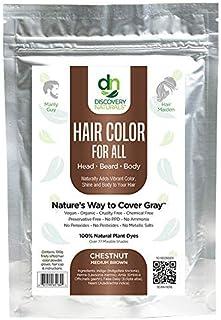 Hair Color For All Natural Hair Dye For Men & Women I 100% Natural & Chemical-Free Pure Hair & Beard Color, Chesnut Medium...
