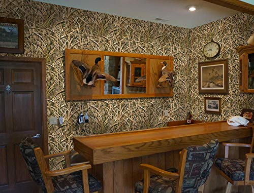 Mossy Oak Graphics - 14026-SGB Shadow Grass Blades Camouflage Peel and Stick Wallpaper - Easy to Install Without the Mess of Traditional Wallpaper - 26' x 107' Rolls Cover 19.3 Square Feet
