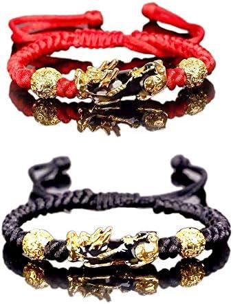 2 Pcs Feng Shui Pixiu Rope Bracelets Set Lucky Nafu Wealth Bracelet Color Change Adjustable product image