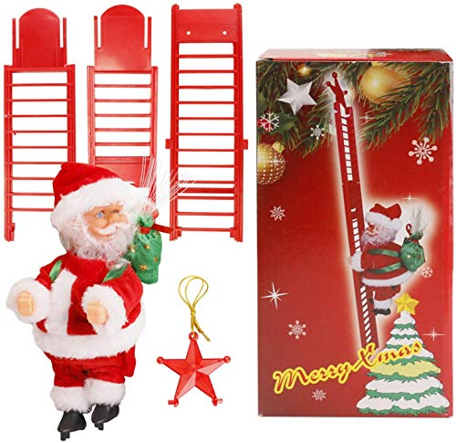 N /D Electric Climbing Up and Down Ladder Santa Claus, Christmas Super Climbing Santa Plush Doll Toy Hanging Ornament Tree Indoor Outdoor Holiday Party Home Door Wall Decoration (Red, One Size)