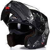 Balscw Casco Integrale Moto Nero Opaco Casco Integrale Nero Casco Integrale Modulare Moto Caschi Integrali per Moto Casco Moto Donna con Visiera,Matte Black A-3XL(65-66cm)