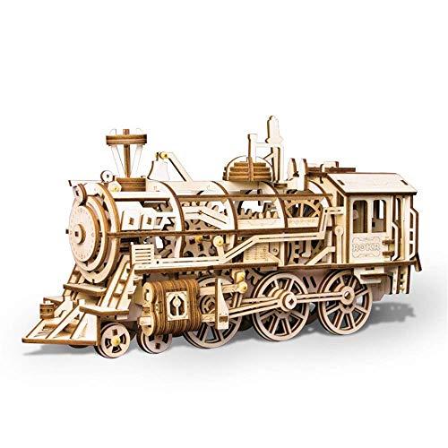 Taoke 3D-Puzzle-pädagogische Spielzeug-Lokomotive Zug-Spielzeug Mechanische Modell Puzzle 3D-Holz-Spielzeug-Zug-Set Holzpuzzle (Farbe: Natur, Größe: 375x120x185 (mm)) 8bayfa