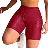 FONMA Women's Wrinkled High Waist Pants Hip Stretch Running Fitness Yoga Pants Red