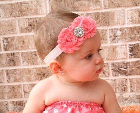 Cinq Saisons 1 raviront deux roses rouge pour bébé fille avec fleur strass bandeau bandeau