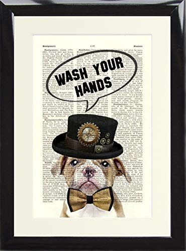 Heart n Home Funny Loo Toilet Sign. Steampunk Dog with Bow Tie and Hat Wash Your Hands. Framed Dictionary Art Print Poster for Bathroom printed on a Vintage Book Page. Presented in a Black Wood Frame steampunk buy now online