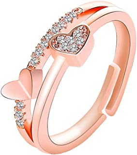 Yellow Chimes Copper Rose Gold Exclusive Valentine's Collection Love Sparkling Dual Heart Cubic Zirconia Rosegold Plated A...