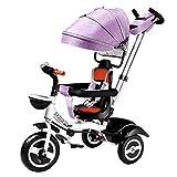 LWXXXA Triciclo de bebé, Triciclo de Cochecito para niños 4 en 1, Asiento reclinable y Giratorio, Desmontable y Plegable, certificación 3c