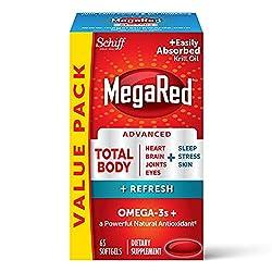 Omega-3 Blend Total Body + Refresh 500mg Softgels, MegaRed (65 count in a bottle), Easily Absorbed K