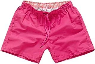 NUWFOR Men Pure Color Splice Stripe Beach Work Casual Men Short Trouser Shorts Pants(Hot Pink,US L Waist:31.50-39.37)