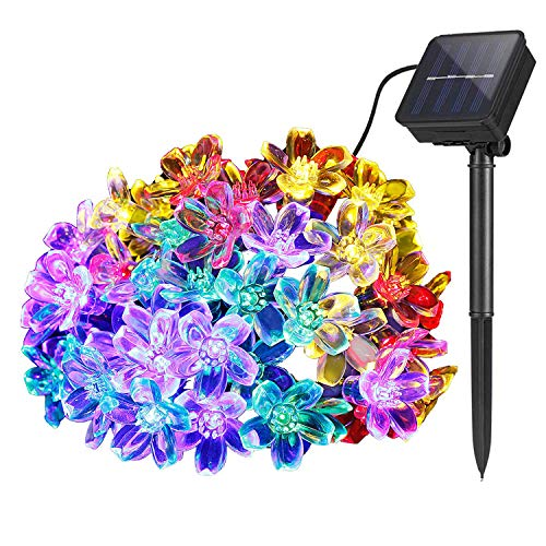 Lámparas solares de Flor cadena Exterior Jardín, 7m 50 LED Impermeable Luces de Hadas Decoración Festival Vistoso Luz para Partido Boda Patio Navidad Decoración (Multicolor)