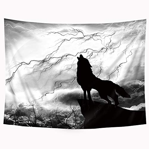 Riyidecor Wolf Tapestry Black and White Silhouette 59Wx51L Inches Howling Thunderstorm Moon Light Mystic Dark Cloud Scary Scene Art Hanging Bedroom Living Room Dorm Wall Blankets Home Decor Fabric
