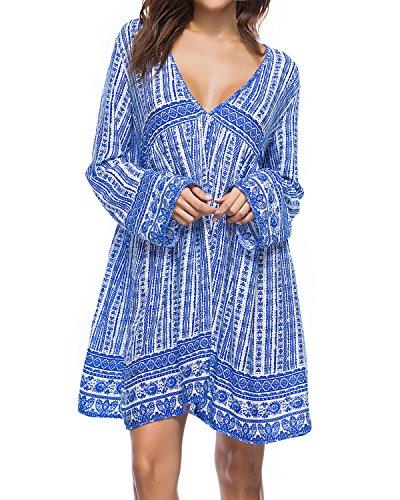 Kidsform Damen Casual Kleid Langes Shirt Lose Tunika V-Ausschnitt Langarm Vintage Retro Minikleid Blau M=EU38
