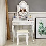 Vanity Desk,Makeup Vanity Table Set,Vanity Desk with Mirror and Lights,360-Degree Rotation Removable Mirror and Chair, Wood Dressing Table with 4 Drawers
