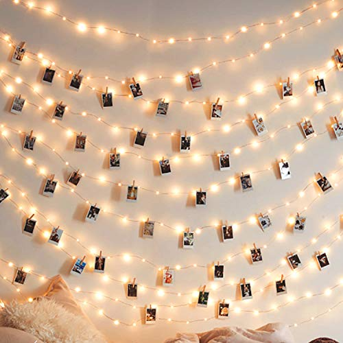 JTL QAKTA Photo Clip String Lights 17Ft - 50 LED Fairy String Lights with 50 Clear Clips for Hanging Pictures, Photo String Lights with Clips - Perfect Dorm Bedroom Wall Decor Wedding Decorations