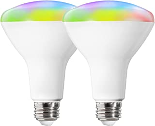 ALAMPEVER LED Smart Light Bulbs Soft White Light 2700-6500K+RGBCW,Dimmable Multicolor BR30 E26 Base WiFi Light Bulbs Work with Alexa Device,Google Home,Smart Life APP,9W(60W Equivalent),800LM,2 Pack