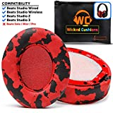 WC Upgraded Replacement Ear Pads For Beats Studio Headphones by Wicked Cushions- Compatible with Studio Wired B0500 / Wireless B0501 / Studio 3 Over-Ear Headphones (Does Not Fit Beats Solo) | Red Camo