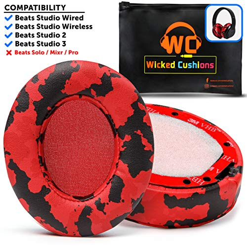Upgraded Beats Replacement Ear Pads by Wicked Cushions - Compatible with Studio Wired B0500 / Wireless B0501 / Studio 2 and Studio 3 Over Ear Headphones ONLY (Does NOT FIT Beats Solo) | Red Camo