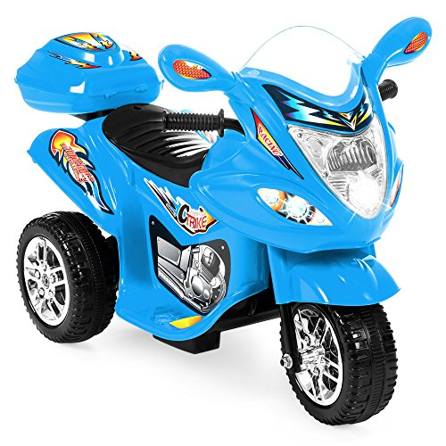 Best Choice Products 6V Kids Battery Powered 3-Wheel Motorcycle Ride On Toy w/ LED Lights, Music, Horn, Storage - Blue