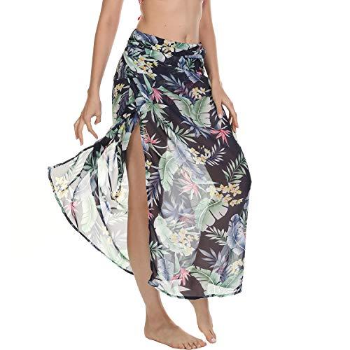 WGWJM Long Beach Sarong Wrap Cover Up for Women Chiffon Swimsuit Tie Wrap Skirt Sexy Bikini Sheer Scarf Bathing Suit Bottom (Green Flower)