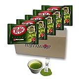 Japanese Kit Kat Matcha Taste Rich Green Tea Strong Flavor 5 Pack and Matcha Drink set (Total mini 60 pack)