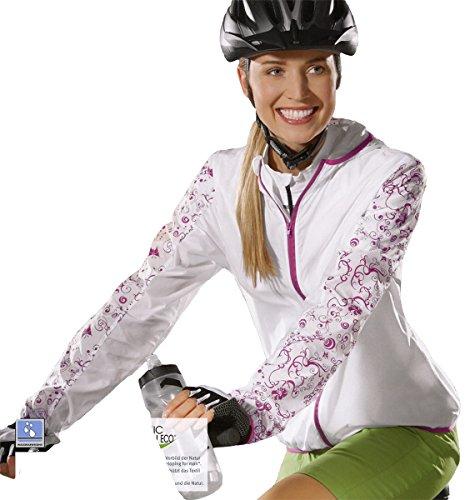 CRIVIT® Damen Fahrradjacke mit Kapuze, ultraleicht, Gr. S (36/38), weiß/rosa gemustert