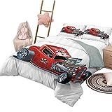 Juegos de Cama de Dibujos Animados Funda nórdica Motor de Auto de Carrera Speedy Dangeous Lleno de Adrenalina Imagen de piloto Imagen Conjunto de Funda nórdica y Funda de Almohada Tamaño Queen