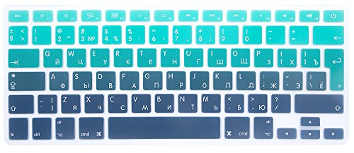 MMDW EU/UK Russian Keyboard Cover for Macbook Pro 13 Inch,15 Inch (with or without Retina Display,2015 or Older Version) Old Macbook Air 13 Inch European/ISO Keyboard Silicone Skin-Ombre Green