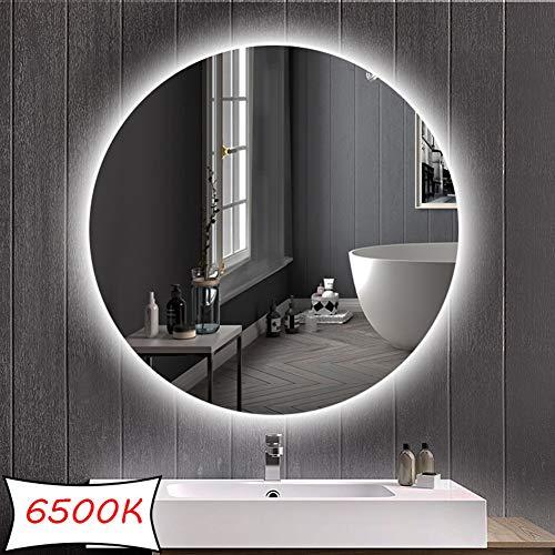 DELM Espejo retroiluminado LED Espejo de baño/Dormitorio/tocador con iluminación Espejo de Pared Redondo sin Marco (sin botón táctil Ø50cm / 60cm / 70cm