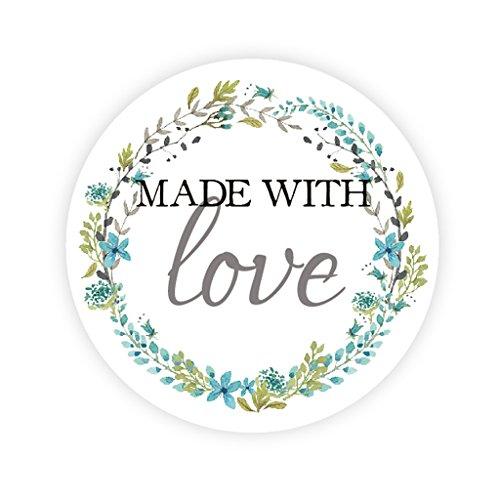 48x Rustic Blume Wreath Papieraufkleber - Made with love - 4 cm Gastgeschenk Stickers Etiketten,für Hochzeitssticker,Taufe,Giveaways,Marmeladengläser,Keksdosen,Tüten,Flaschen,Selbstgemacht - UNI 152