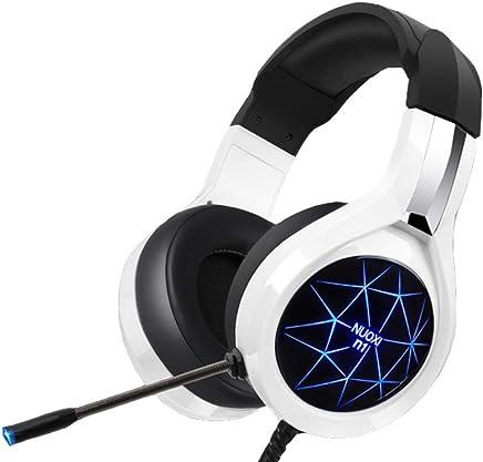 HUAXING Gaming Headset, 7,1 Canale Surround Audio Over-Ear Gaming Archetto con Illuminazione a LED Blu, Microfono a cancellazione del Rumore & Controllo del Volume per Computer PC,White - Trova i prezzi più bassi