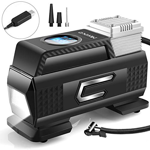 Merece Tire Inflator Portable Air Compressor, Cordless Car Tire Air Pump Rechargeable Air Compressor for Car Tires Motorcycle Bike Other Inflatables, Quiet Digital Tire Inflator with Pressure Gauge