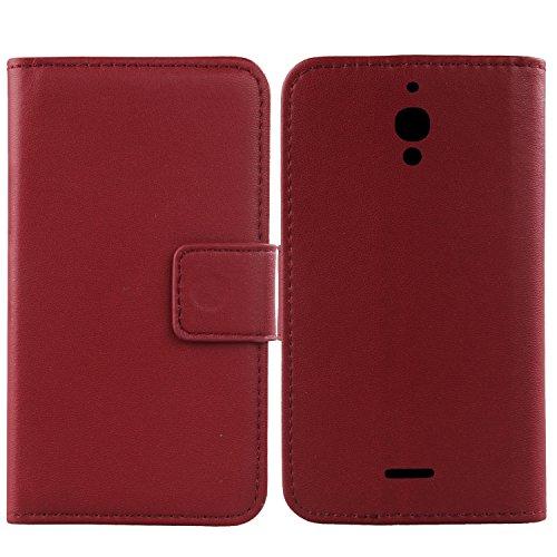 Gukas Echt Leder Tasche Für Alcatel Pixi 4 9001D 6.0 4G (Nicht 3G) Hülle Lederhülle Handyhülle Handy Flip Brieftasche mit Kartenfächer Schutz Protektiv Genuine Premium Hülle Cover Etui Skin (Dark Rot)