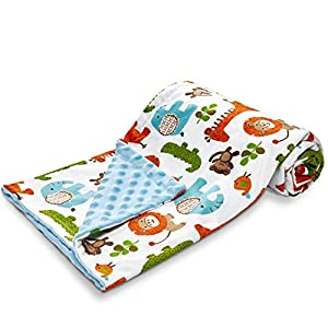 Baby-Blanket-for Boys Girls-Baby Blankets-Newborn,Super Soft Comfy,Patterned Minky with Double Layer,Dotted Backing, 30 x 40 Inch,Safari