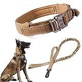 Collar de perro táctico militar collar de perro ajustable Nylon hebilla de metal resistente con mango para entrenamiento de perro (L,Brown)