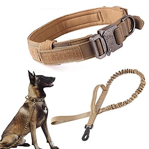 Collar de perro táctico militar collar de perro ajustable Nylon hebilla de metal resistente con mango para entrenamiento de perro (XL, marrón)
