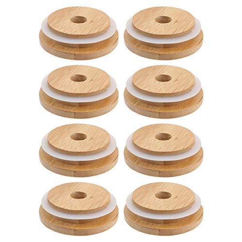 Angoily 8 Piezas de Tapas de Tarro de Masón de Bambú con Agujero de Paja Reutilizable Tapas de Tarro de Bambú para Boca Ancha Tarro de Masón 70MM