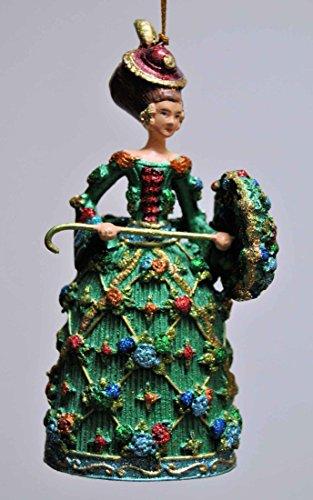 Deko Hänger Rokoko-Dame mit Schirm, Anhänger Christbaumschmuck, grün, gold, 13 cm