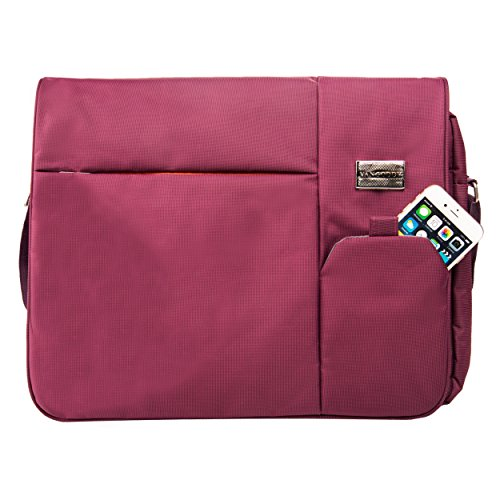 Vangoddy Italey Handbag, Shoulder, Sling Bag Purple for Microsoft Laptop 13.5 inch (Surface, Surface Book) Come with and Black Red Wireless USB Mouse and 7 Port USB 2.0 HUB 6 Foot Cable