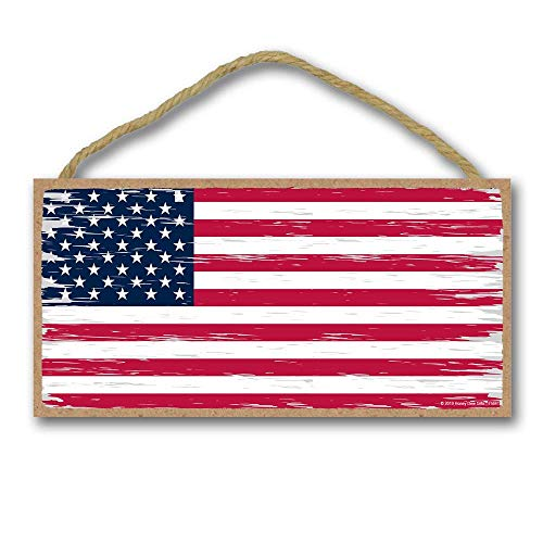 Honey Dew Gifts Man Cave Bar Patriotic Signs, American Flag 5 inch by 10 inch Hanging Wall Art,...