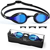 Aegend Swim Goggles, Swimming Goggles with Nose Bridges UV Protection